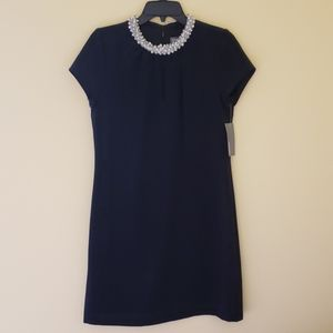 Donna Ricco black dress with Pearl Collar